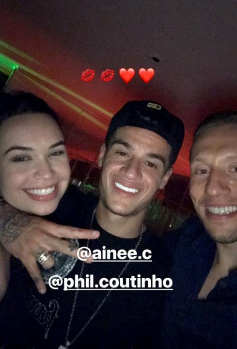 Philippe Coutinho and Lucas Leiva were in full celebrations too