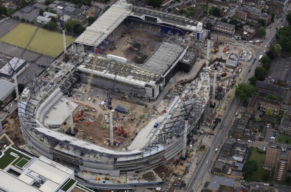 An aerial image shows Tottenham's new stadium compared to White Hart Lane