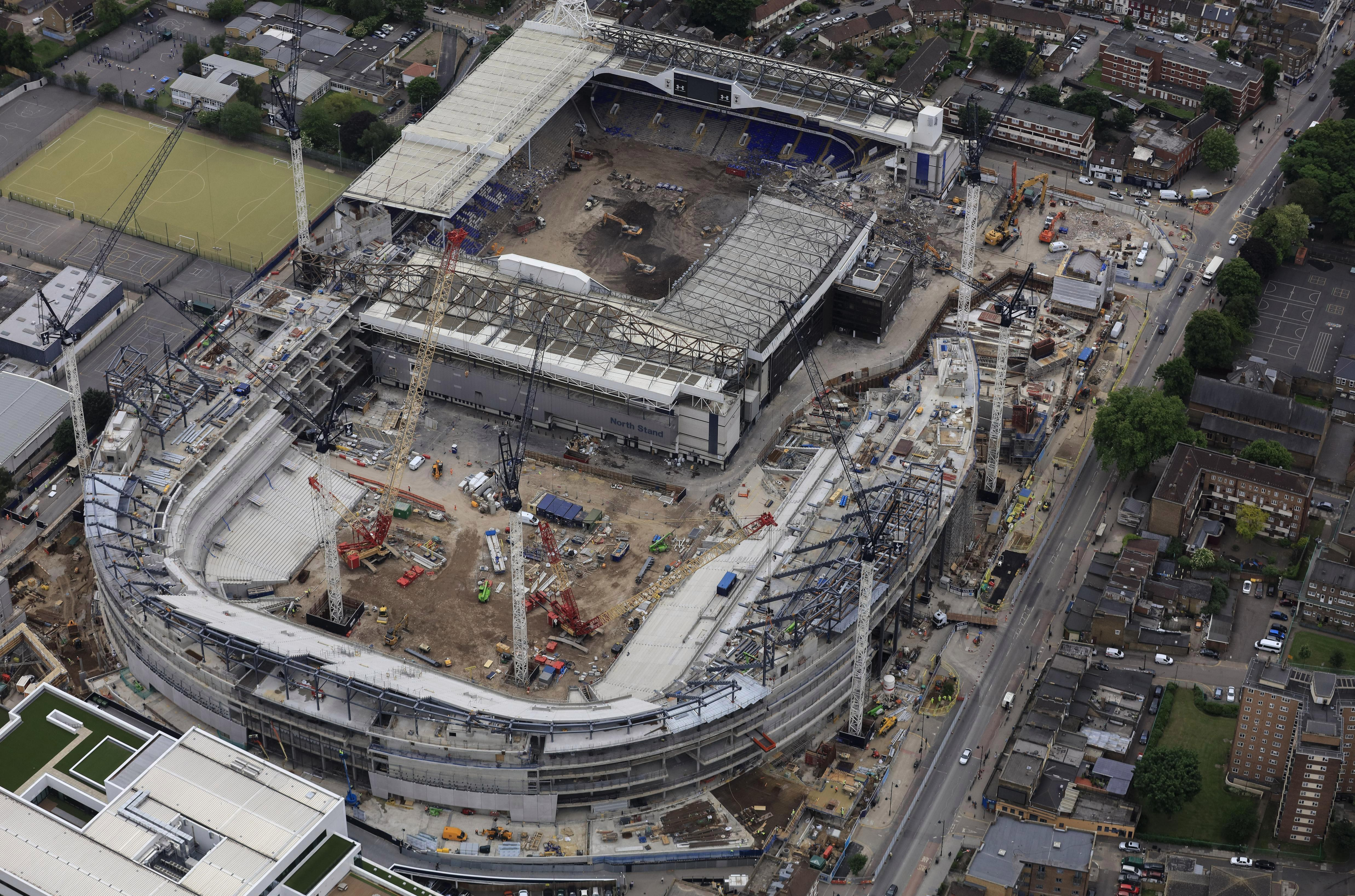 An aerial picture shows Tottenhams new track compared to White Hart Lane