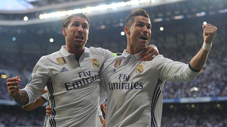 Ramos celebrating with goalscorer Cristiano Ronaldo