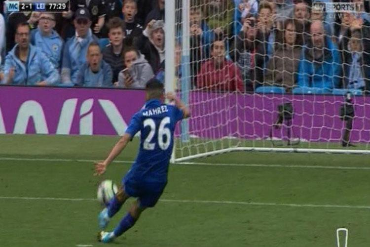 Mahrez runs up to take the penalty
