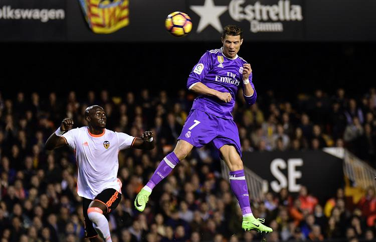 Ronaldo at the top of his leap is one of the best sights in football