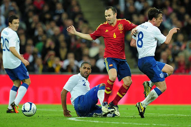 Three international legends and Andres Iniesta