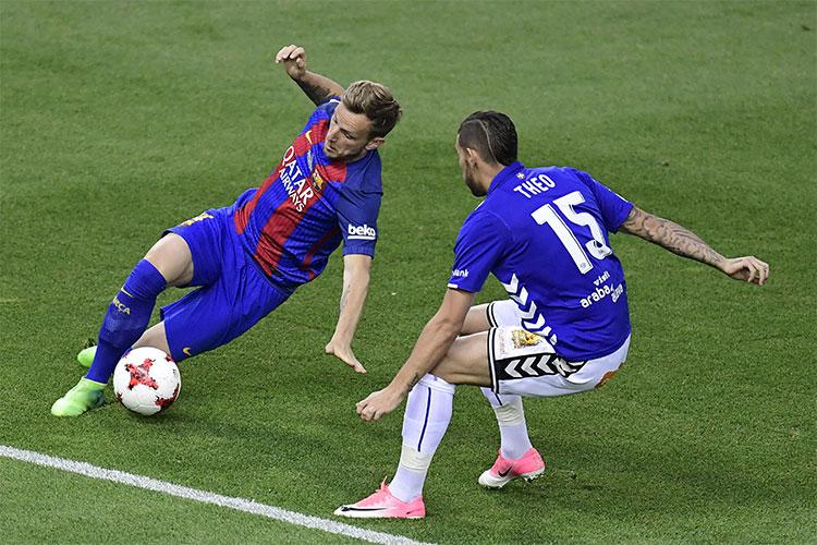"""Theo"" in action against Barcelona"