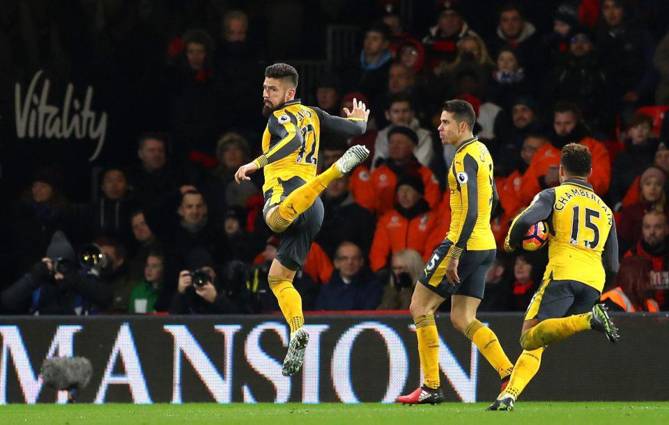Giroud flicked his heels in to the air after scoring against Bournemouth last season