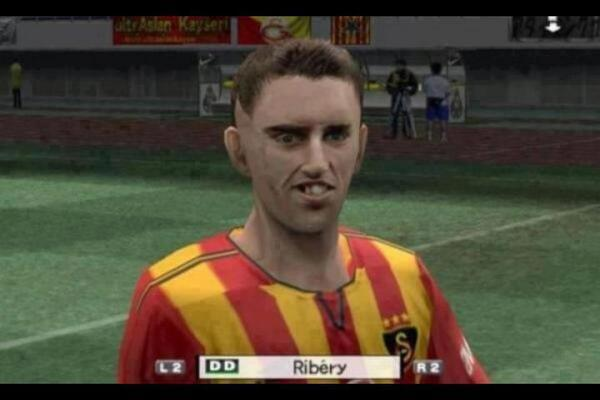 Ribery in one of the earlier PES games looked like a monster