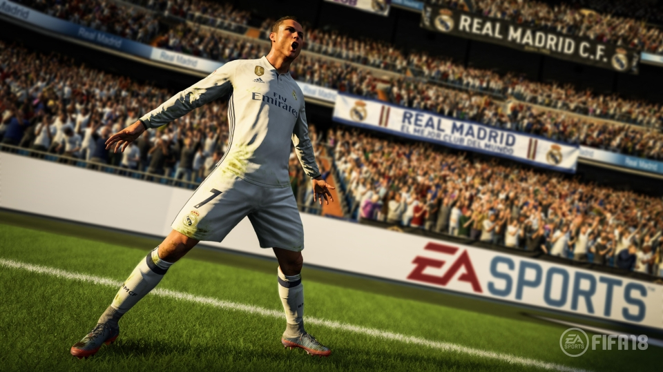 Cristiano Ronaldo celebrates after netting a goal in the FIFA 18 trailer
