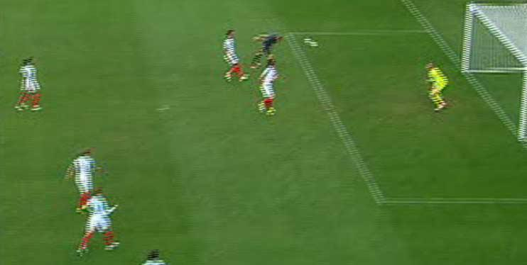 His goalbound header was expertly placed