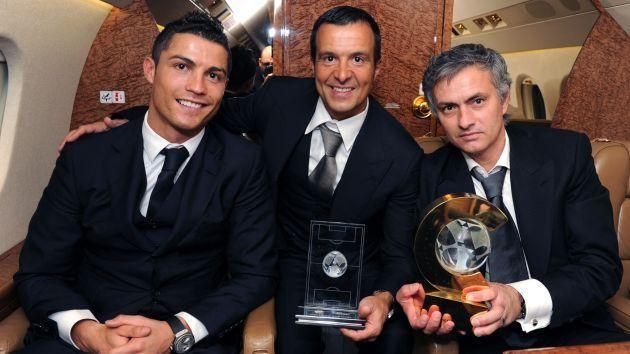 Cristiano Ronaldo with agent Jorge Mendes and Jose Mourinho