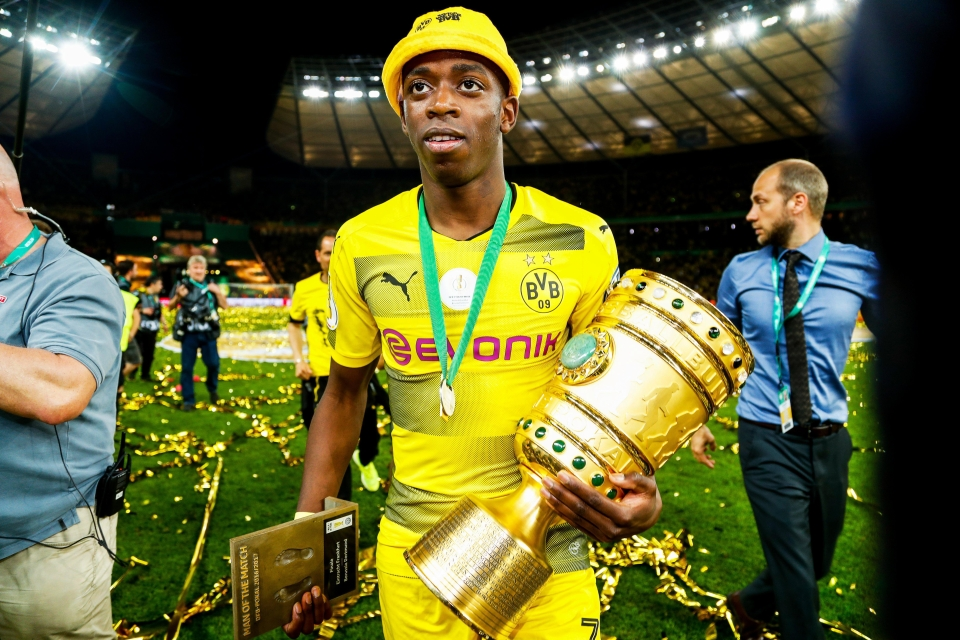 Dembele with the German Cup after Dortmund's win over Eintracht Frankfurt