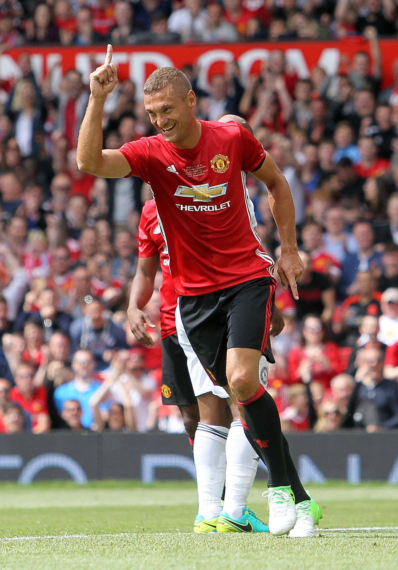 Vidic in action during Michael Carrick's testimonial earlier this year
