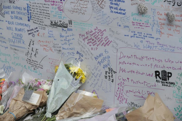 Flowers and messages for the victims