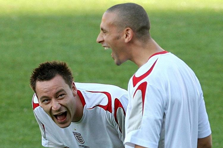 Ferdinand and Terry react to watching Emile Heskey practising finishing