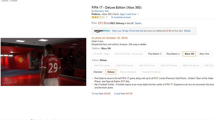 A screenshot of the Amazon page using the wrong imagery for the last-gen chronicle of FIFA 17