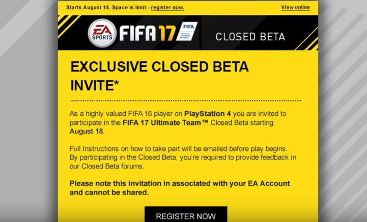 The FIFA 17 closed beta invite was circulated at around this time last year