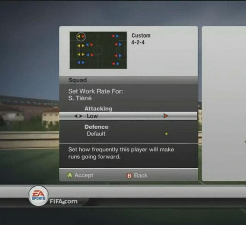 A menu in FIFA 12 allowed you to manually change players' work rates – adding more tactical depth