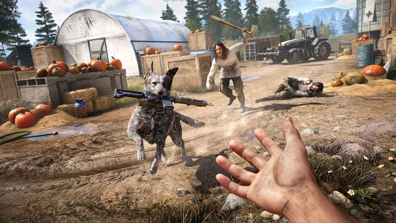 Boomer the dog is just one a handful of allies you can bring along in your quest to liberate Hope County
