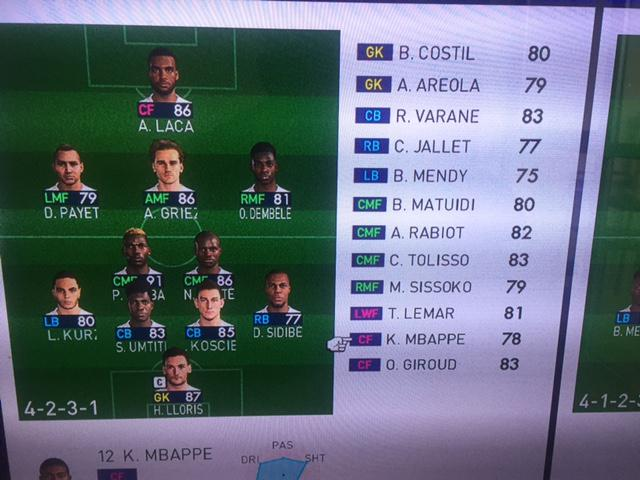 The French line up reveals some strange ratings in the PES 2018 beta