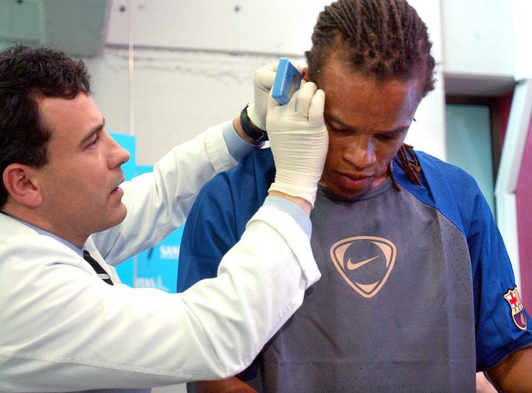 Who knew that getting your ear pierced was part of a Barcelona medical?