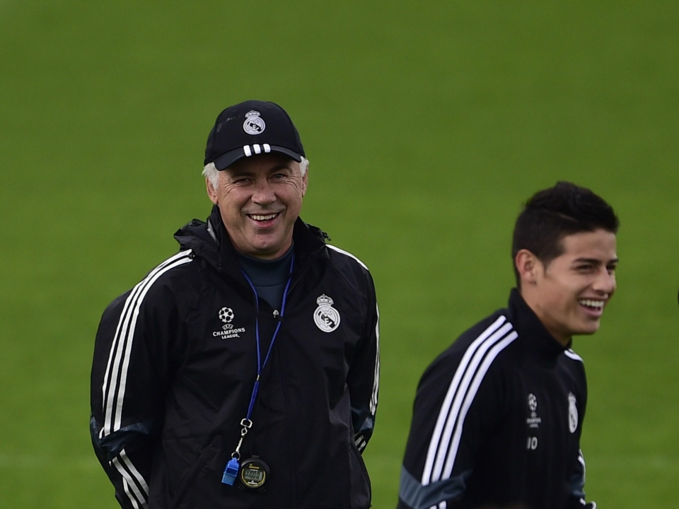 Carlo Ancelotti and James Rodriguez worked together at Real MAdrid