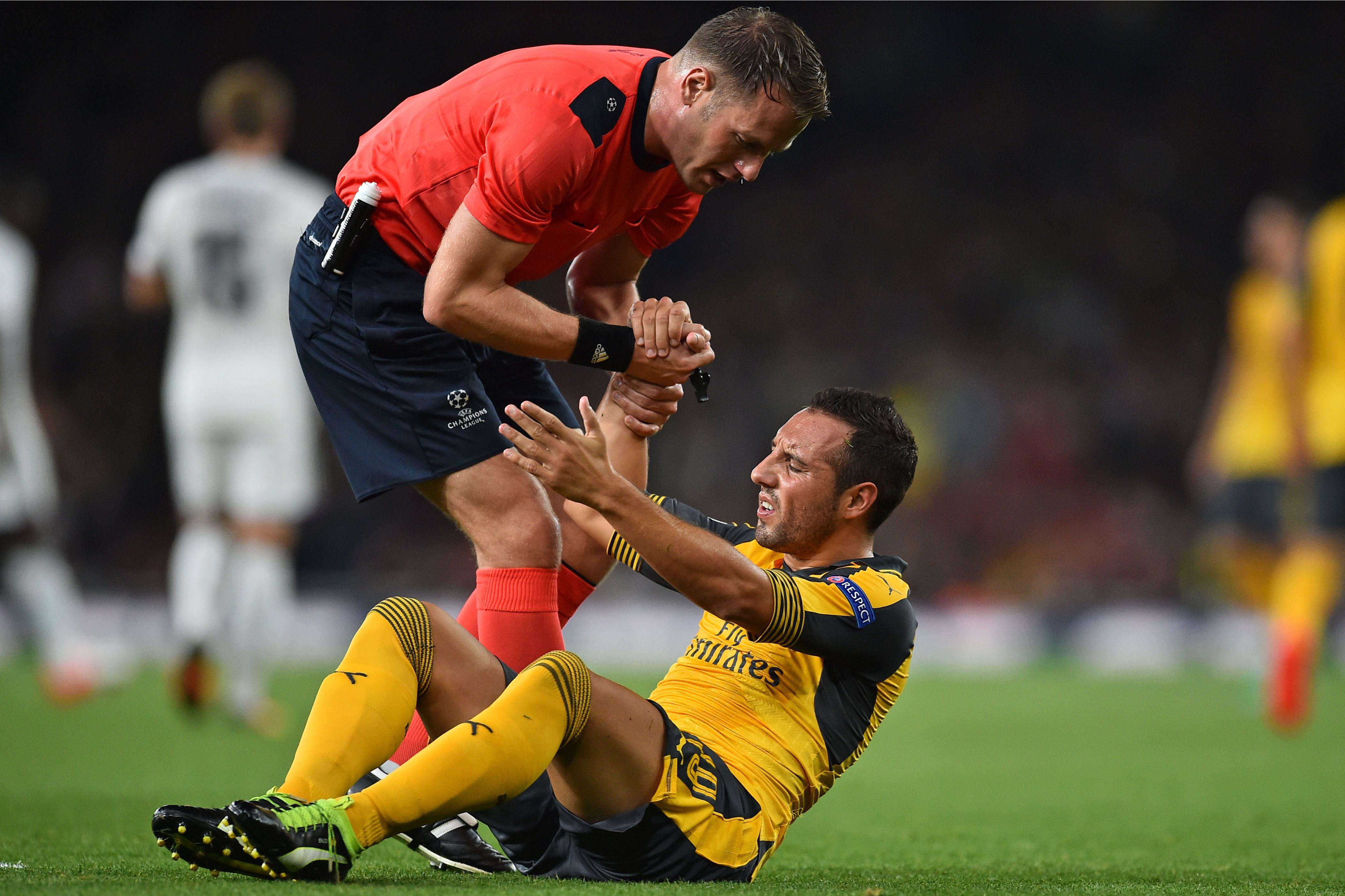 There remains no timetable for Santi Cazorla's return to action