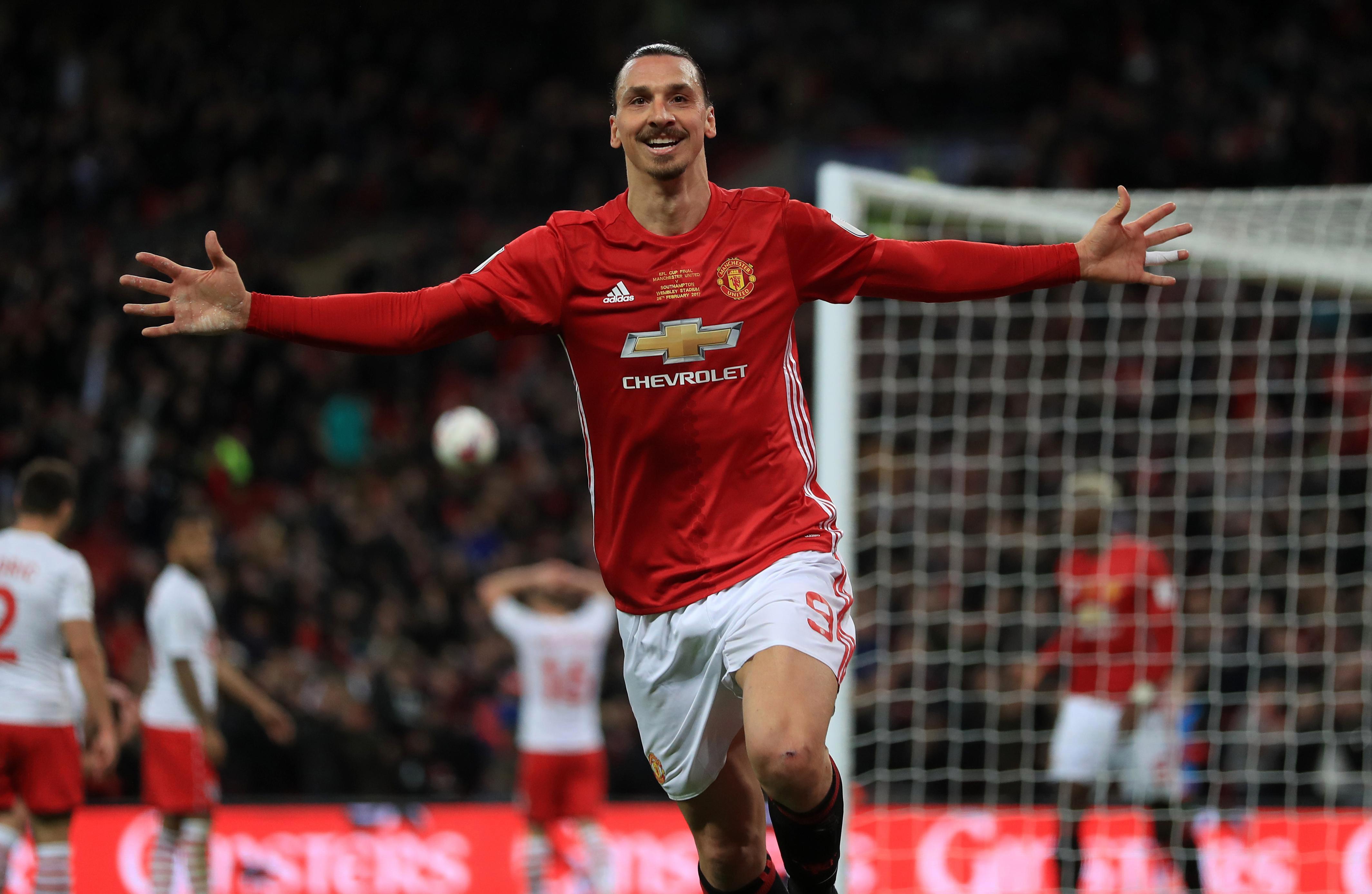 Zlatan Ibrahimovic celebrates winning goal in EFL Cup final