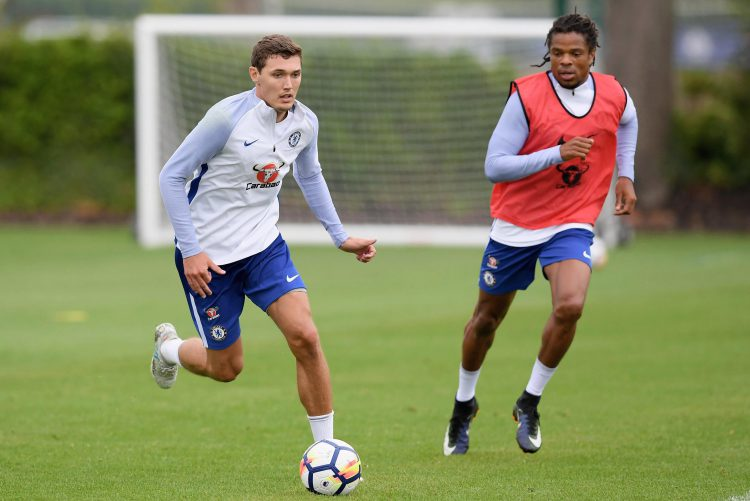 Andreas Christensen training with Loic Remy