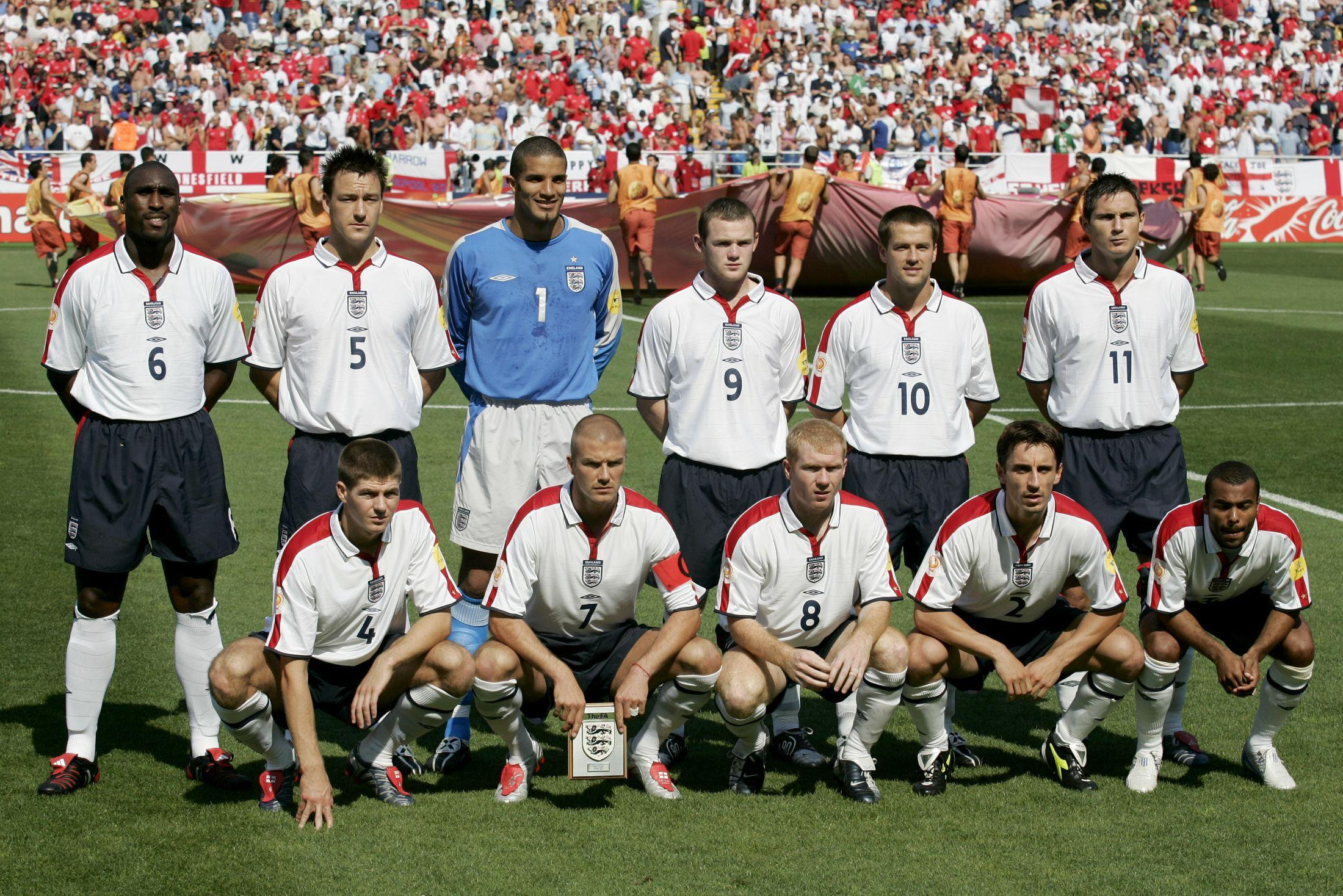 England's line up against Switzerland at Euro 2004