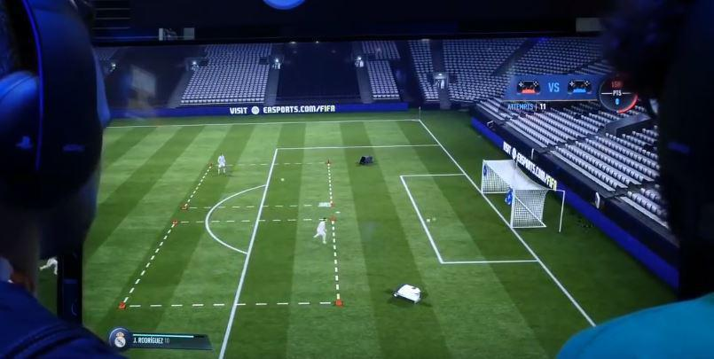 A screenshot from the upcoming FIFA 18 practice arena