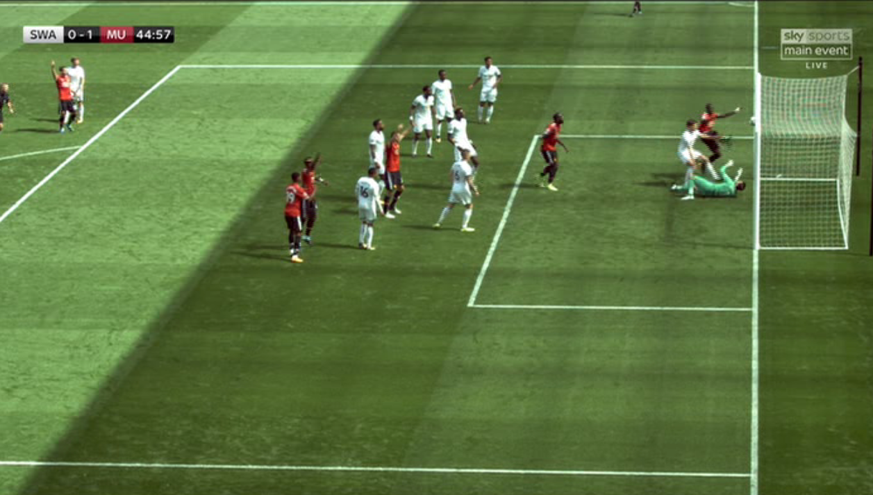 The ball rebounded down without quite crossing the line