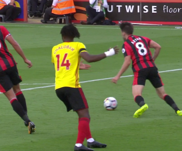 The former Chelsea man then dummies the ball through his legs, only to see it fall to Arter