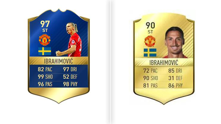 Zlatan's best FIFA 17 card, left, saw the Swede become unstoppable in front of goal