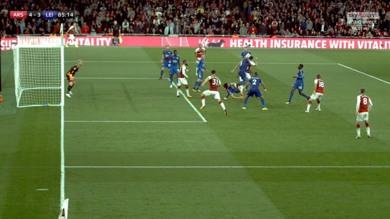 Giroud rose above his marker at the corner