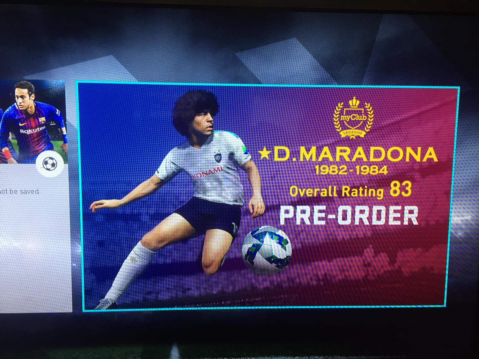 According to the PES 2018 demo screen, Maradona only has a 83 rating