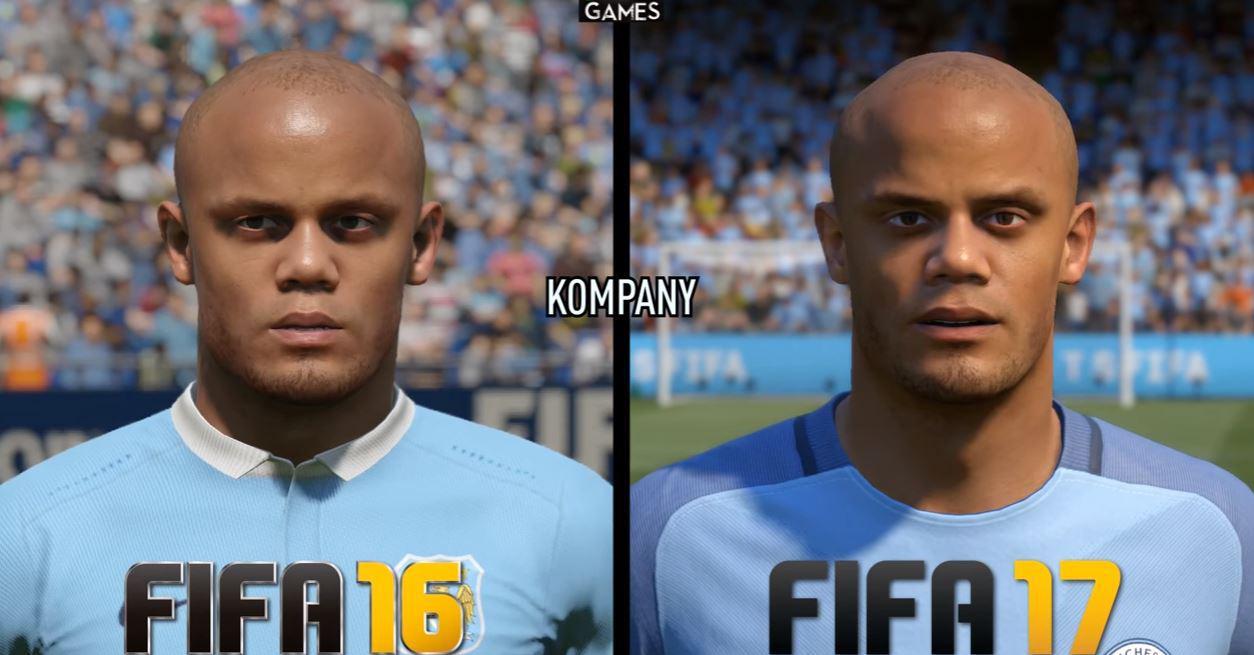 Kompany's face in FIFA 16 compared to FIFA 17 – both look very impressive