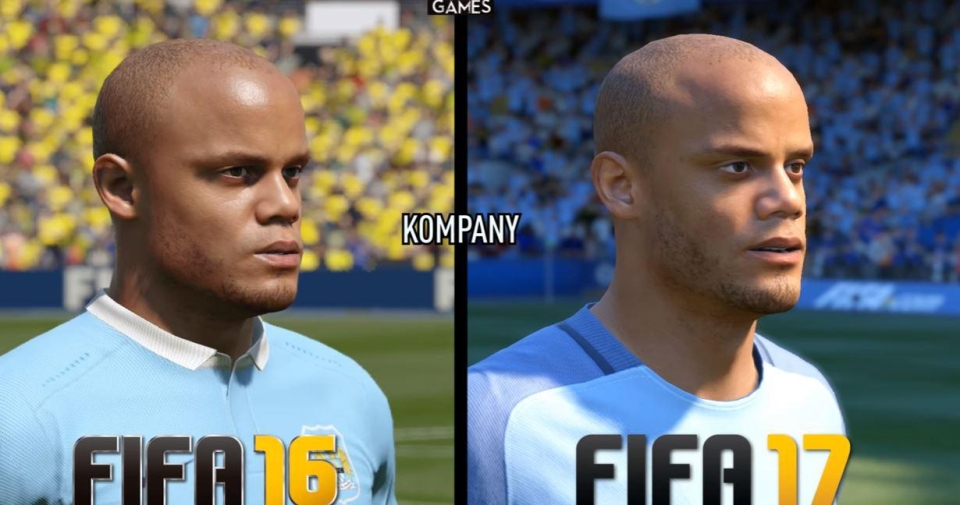 A side-on view of the Manchester City star across the two games – the newer game boasts more realistic cheek and jaw structure