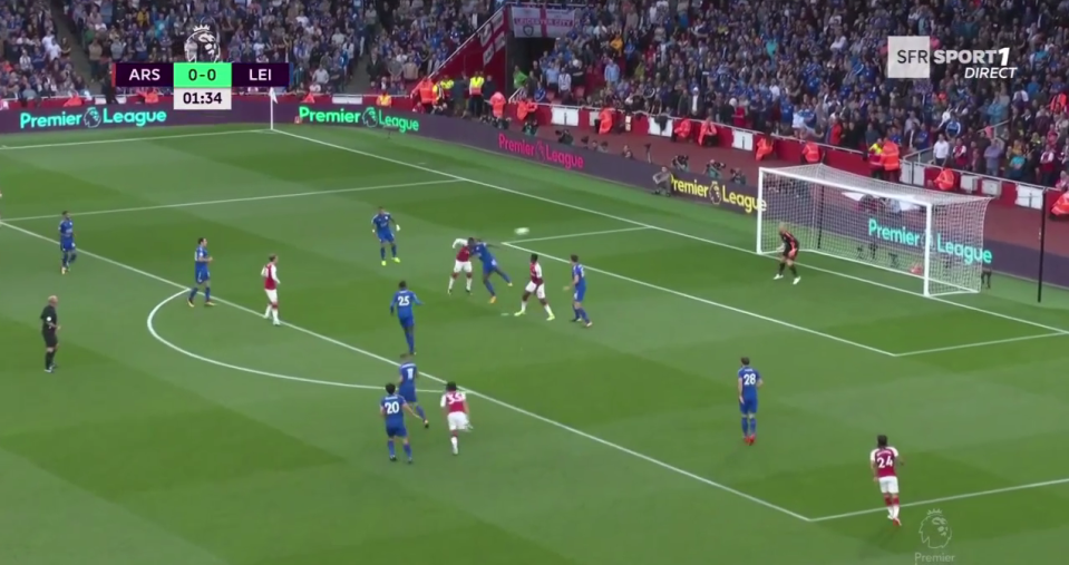 Lacazette beat Wes Morgan to the ball