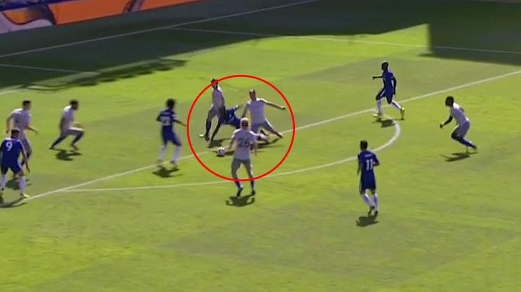Victor Moses is fouled on the edge of the area…
