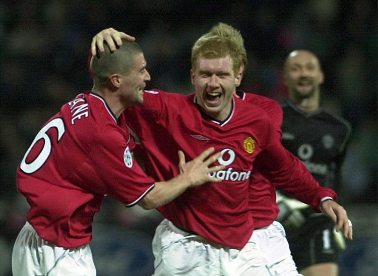 Scholes was the only man allowed to touch Keane's bald head