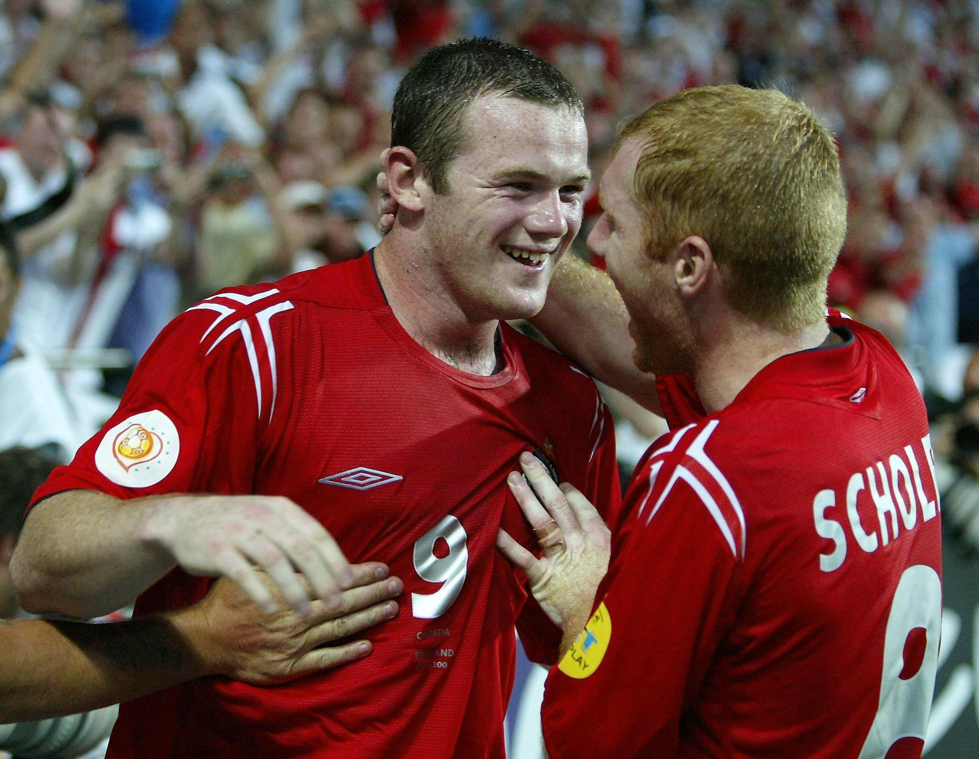 A youthful -looking Wayne Rooney would go on to finish the match against Croatia with a brace