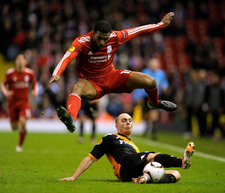 The floor is not hitting the first man with a corner