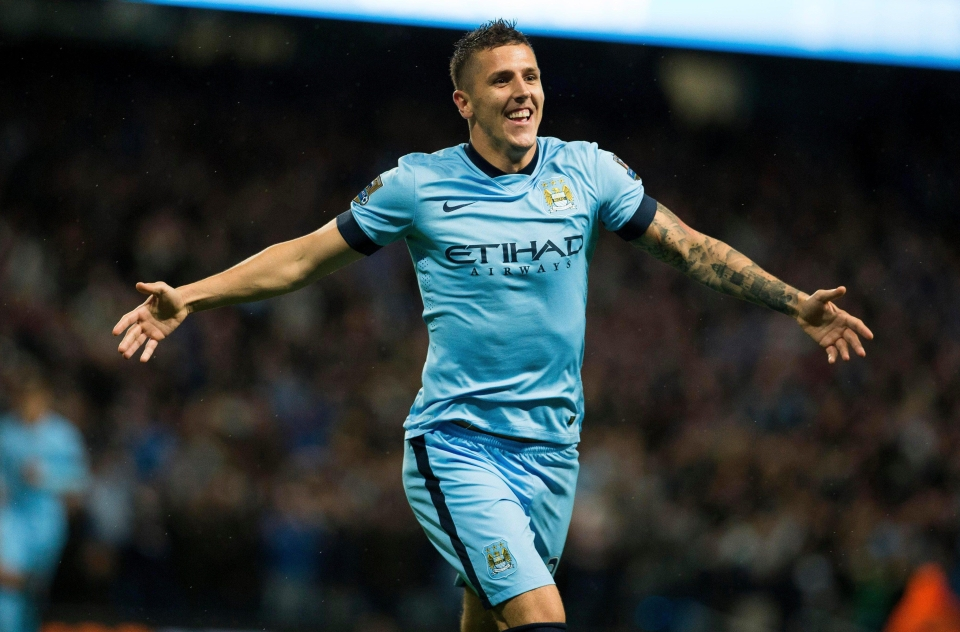 Stevan Jovetic enjoying a rare high moment while at Manchester City