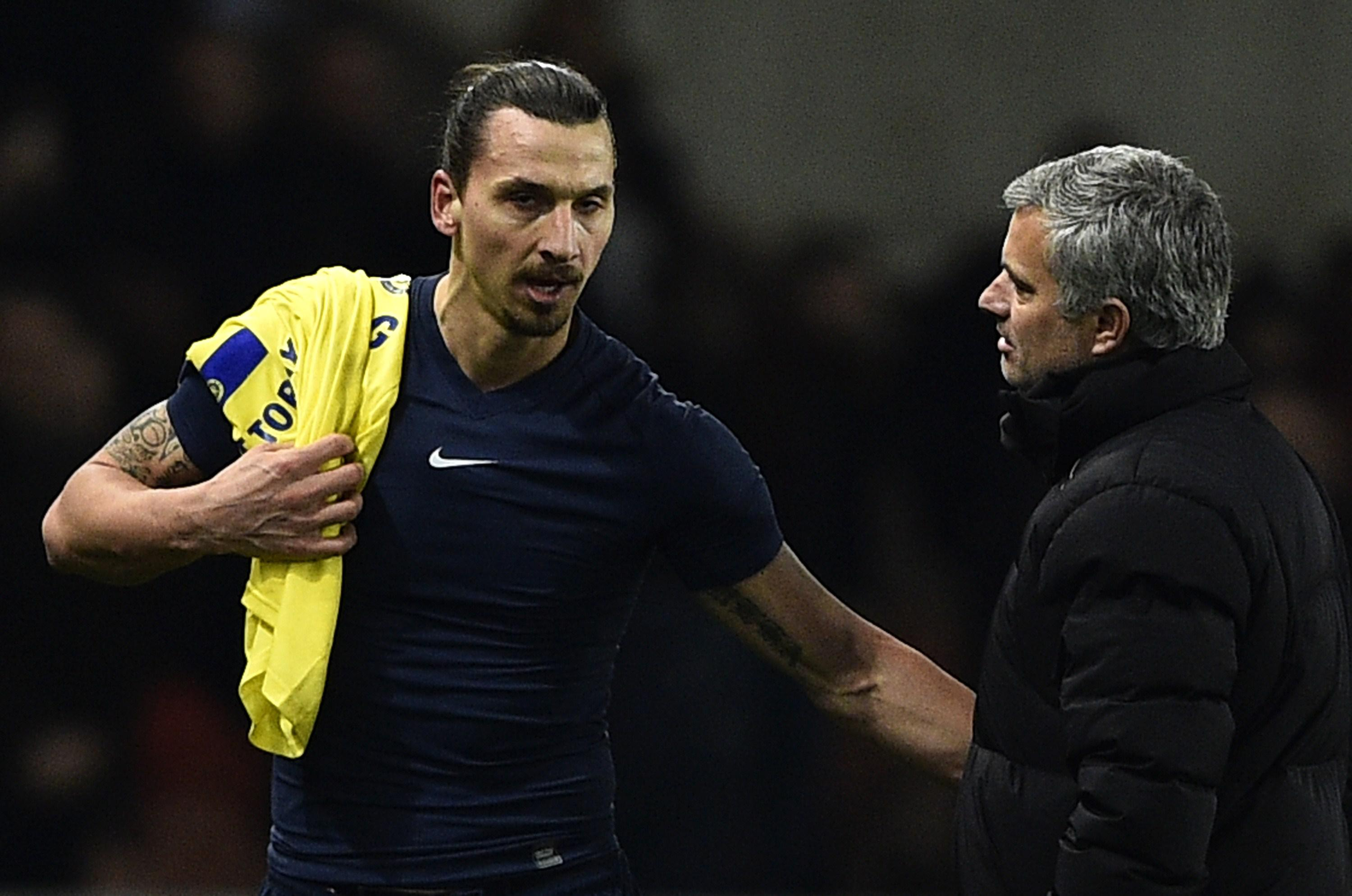 Zlatan and Mourinho in 2015, when PSG faced Chelsea
