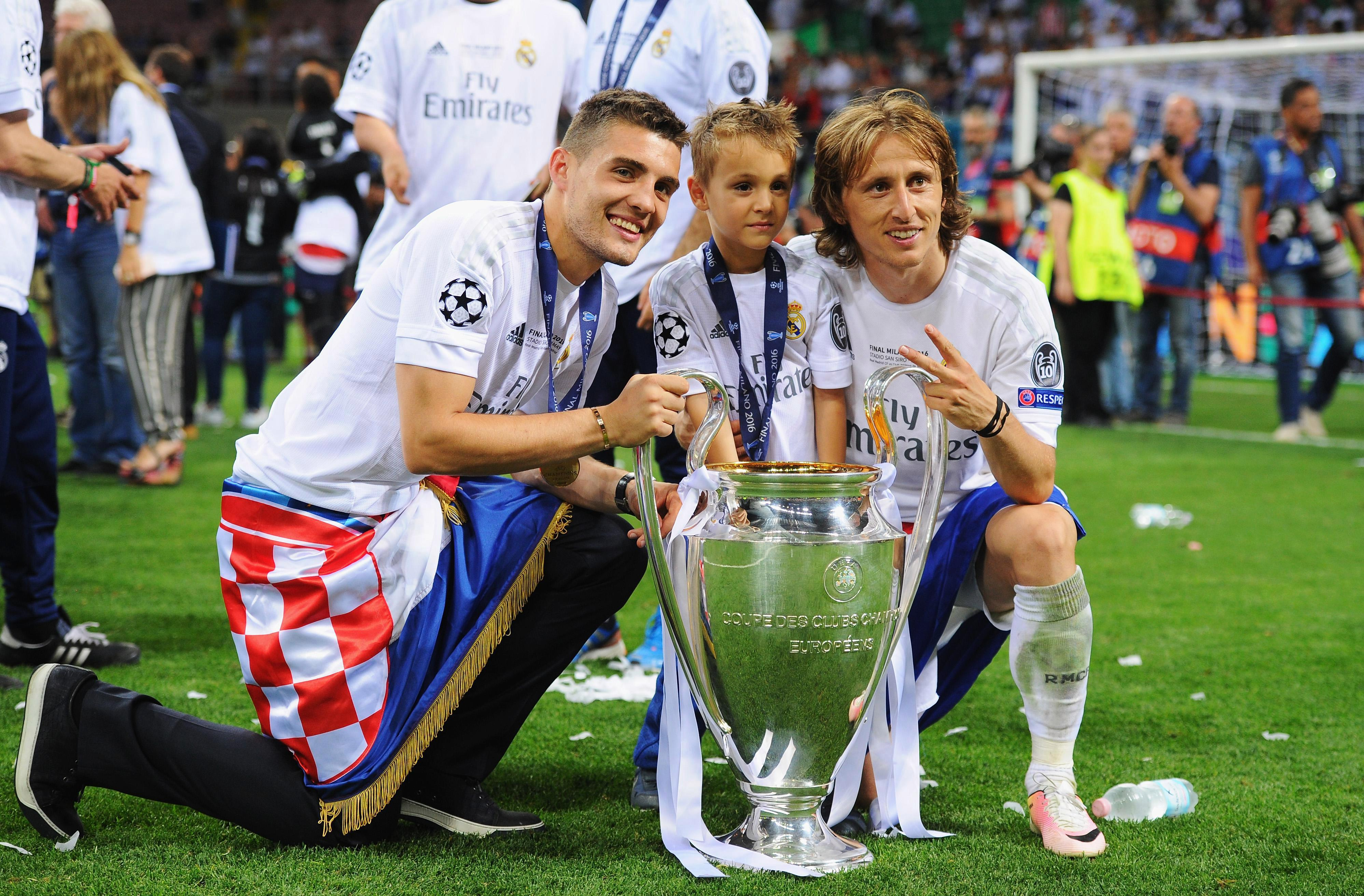Croatia internationals Mateo Kovacic and Luka Modric with Champions League