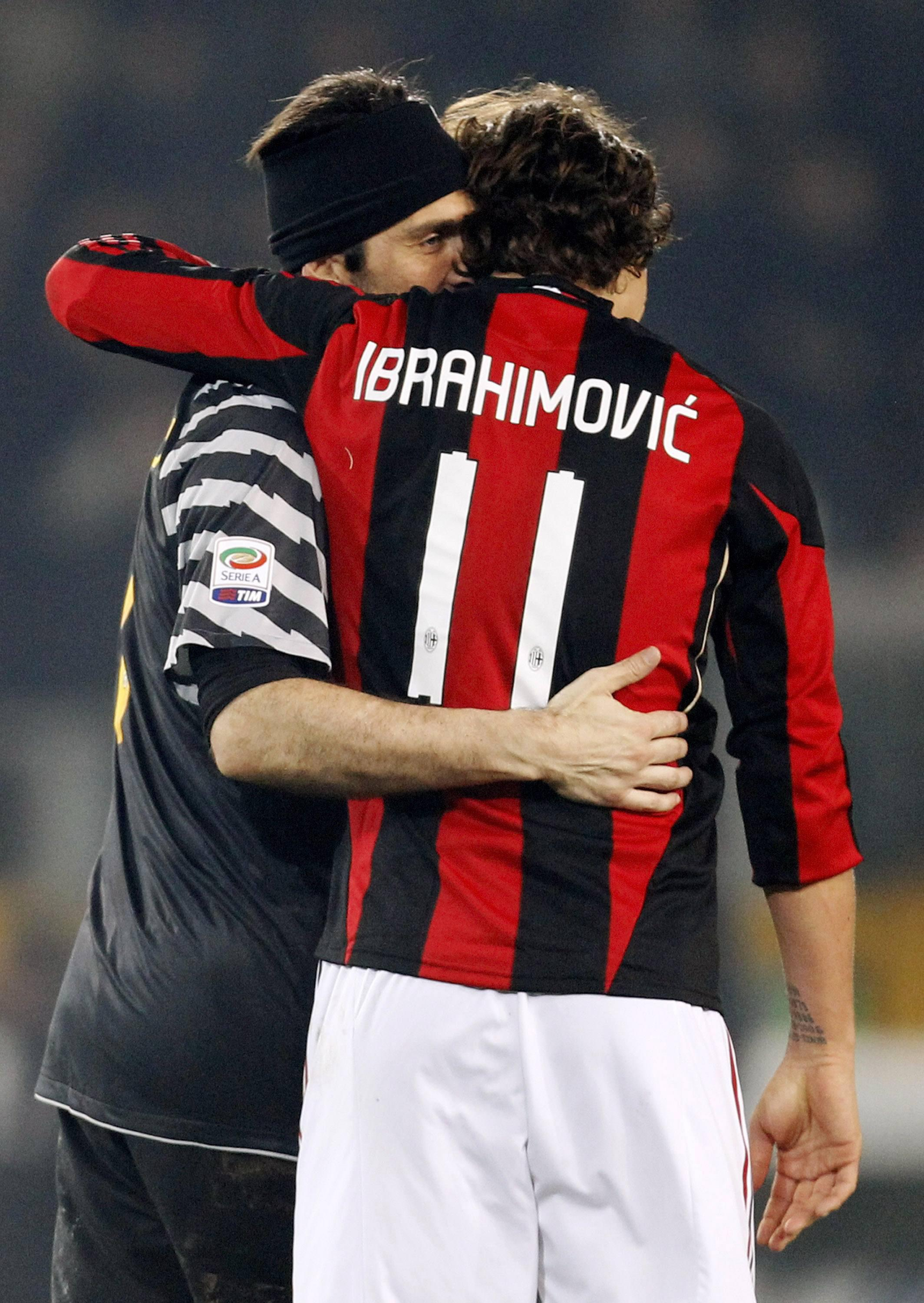 Buffon hugs Zlatan… greatness recognises greatness