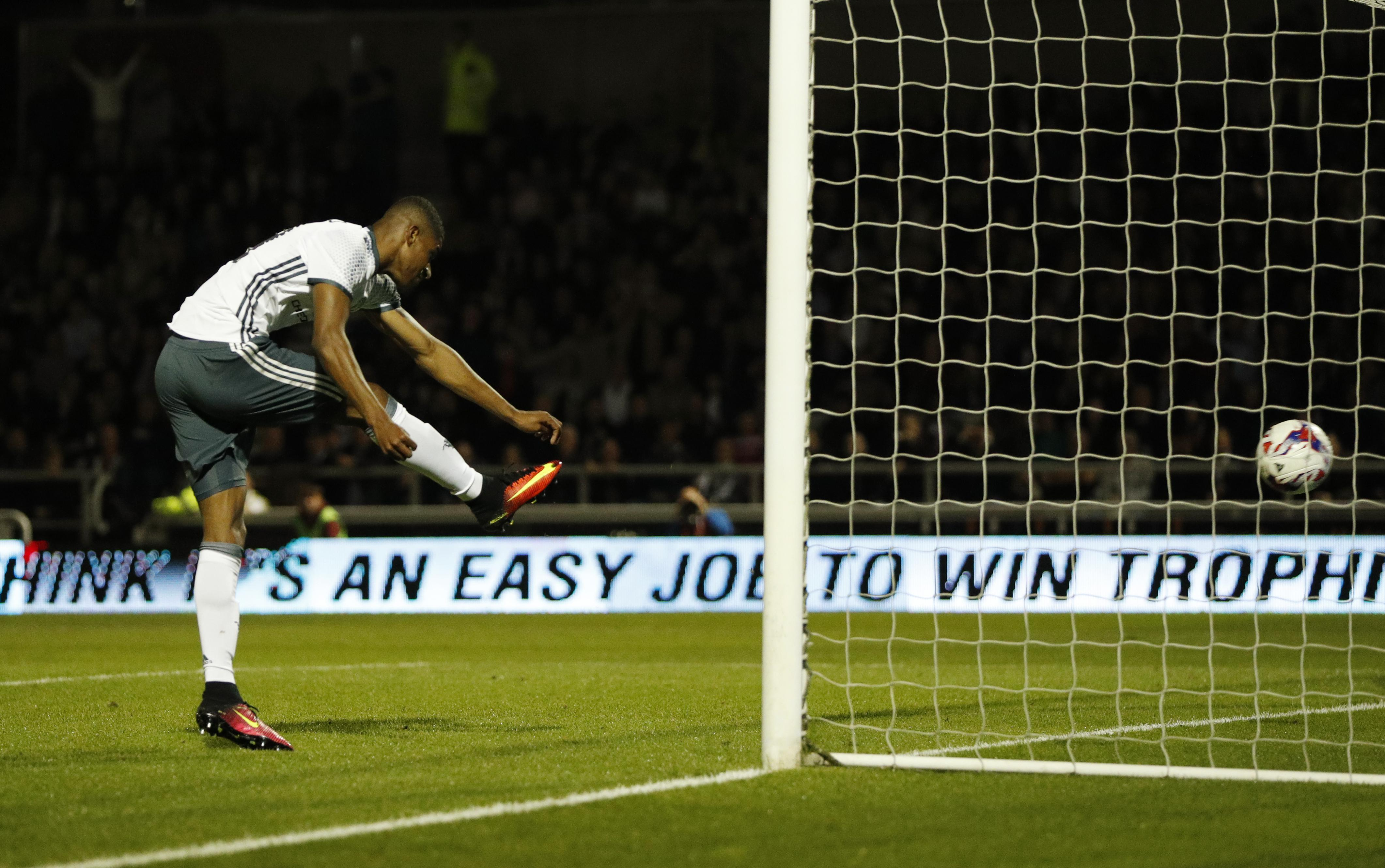 Trying to burst the net when given an open goal… good lad