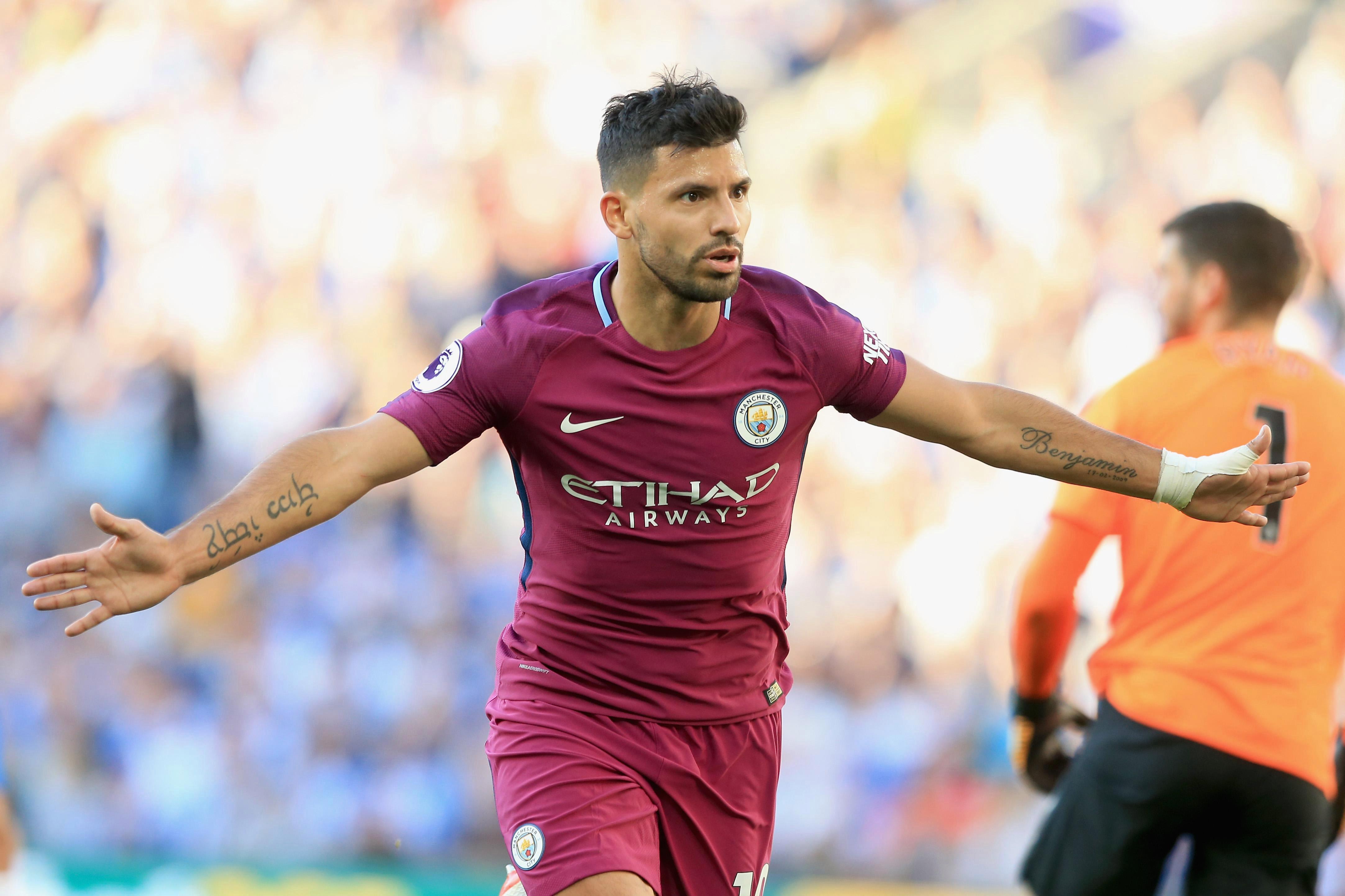 Sergio Aguero scored as Man City beat Brighton 2-0