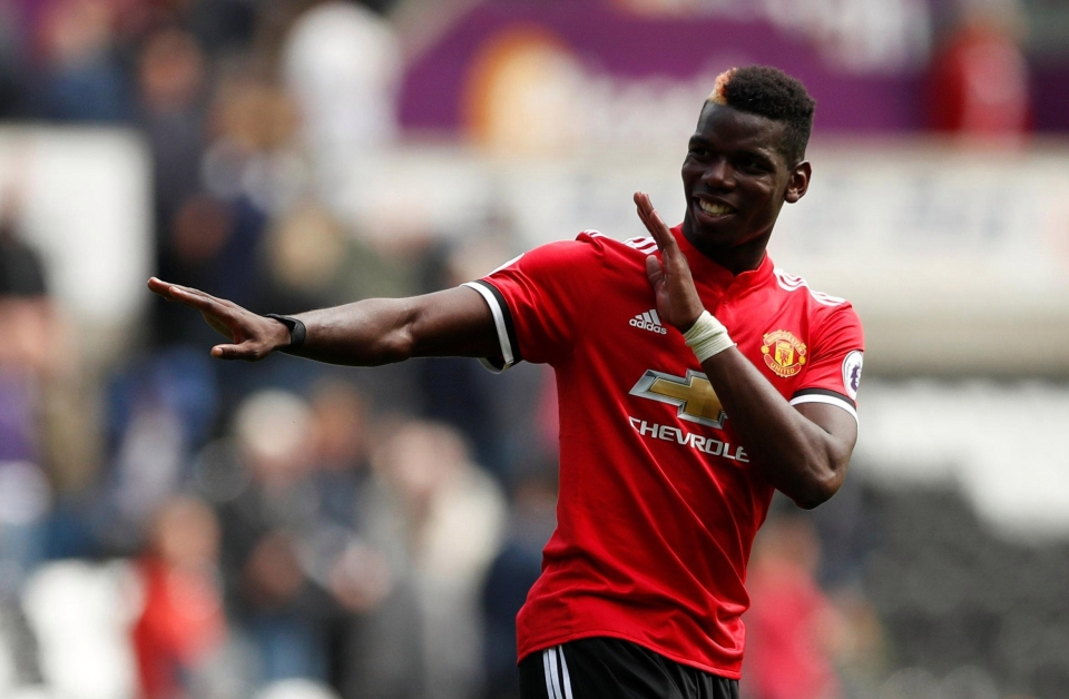 Paul Pogba celebrates after scoring his second goal of the season in the 4-0 win at Swansea