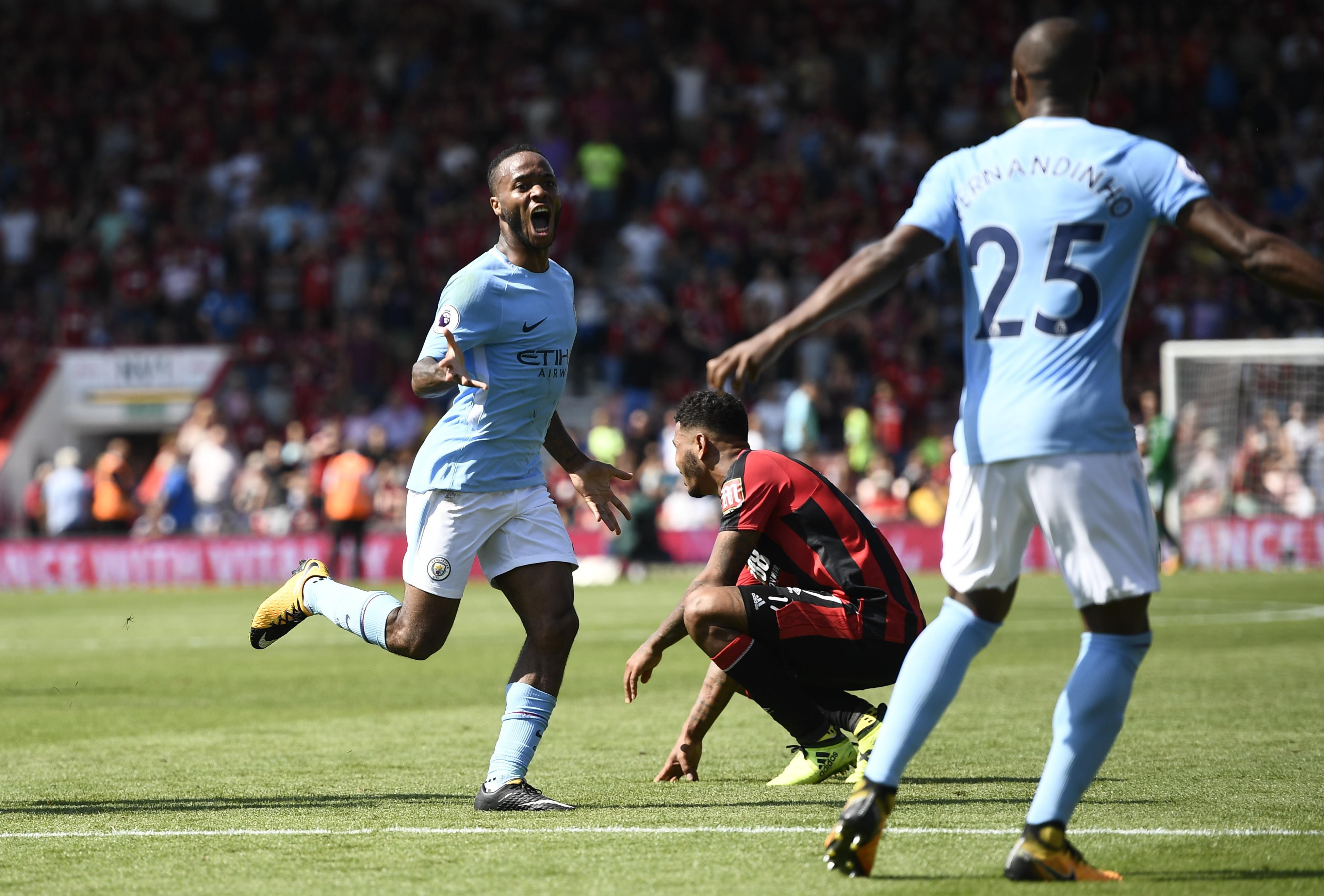 Sterling celebrates his 96th minute winner