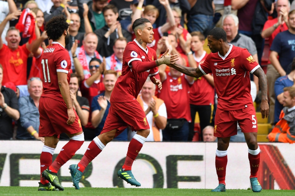 Roberto Firmino opened the scoring in the 4-0 win over Arsenal on Sunday